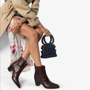 Ganni western crocodile-effect boots